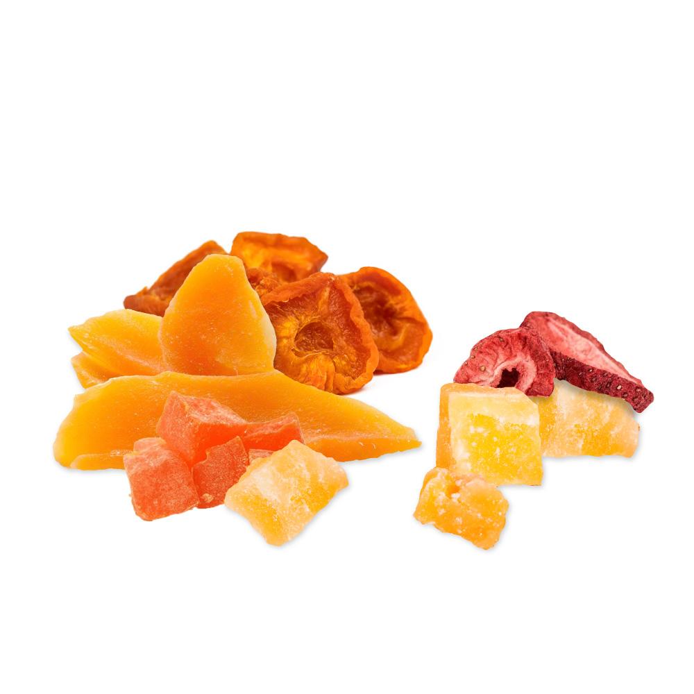 Eva's CBD Dried Fruit. Dried mango, dried papaya, dried strawberry, dried pineapple, dried apricot.